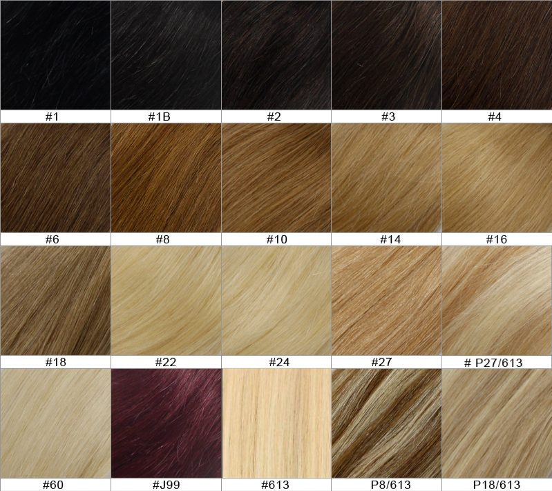Bella Hair UK - Deluxe Full Head Clip In Human Hair Extensions Colour Chart